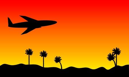 ciel rouge: Avion dans le ciel rouge au fond du coucher du soleil Illustration