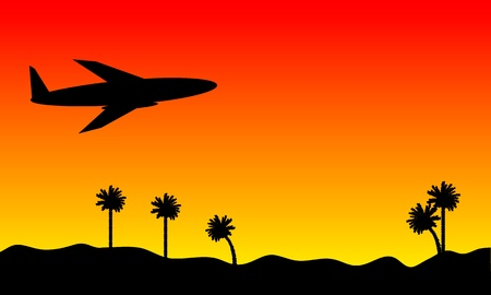 palm pilot: Plane in the red sky at sunset background