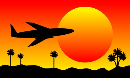 palm pilot: Plane in the sky at sunset background Illustration