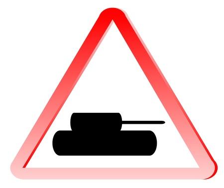 forewarning: Tank crossing sign isolated on white background Illustration