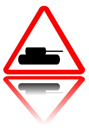 forewarning: Tank crossing sign with reflection isolated on white background Illustration