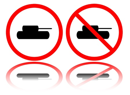 forewarning: Tank stop signs isolated on white background Illustration