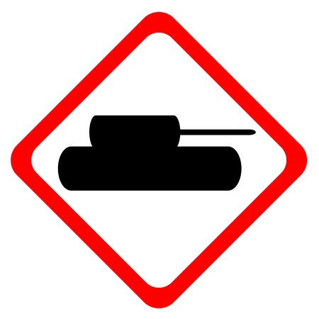 forewarning: Tank crossing sign isolated on white background Illustration
