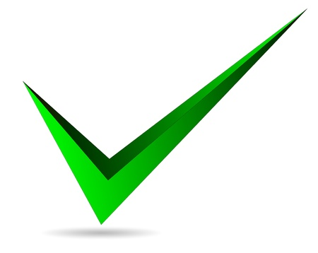 Illustratie van groen vinkje geïsoleerd op witte achtergrond
