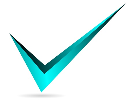 Illustration of blue checkmark isolated on white background