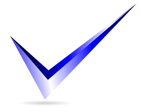 Illustratie van blauwe vinkje op een witte achtergrond