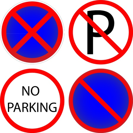 Set of variants a No parking - road sign isolated on white background. Vector