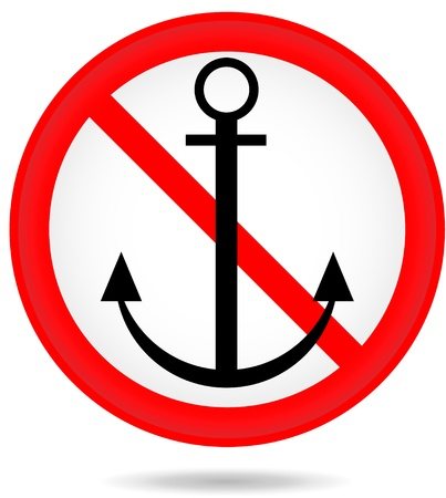 forbidding: Forbidding round sign with an anchor isolated on the white background
