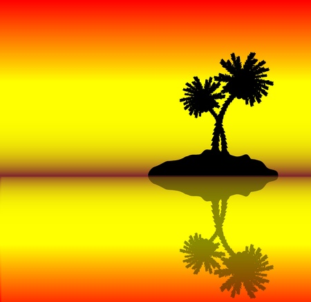 Tropical island with palms . Evening. Vector illustration Stock Vector - 10390324