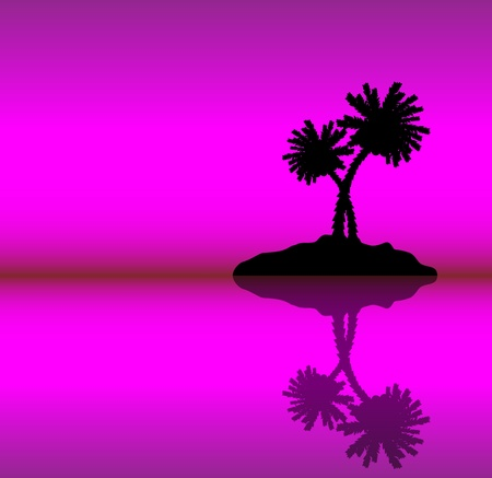 Tropical island with palms . Evening. Vector illustration Vector