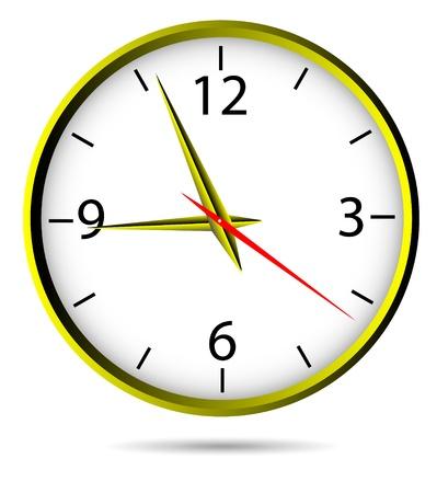 office clock: Reloj cl�sico Oficina oro - vector.