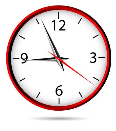 Clásico reloj de la oficina de color rojo - vector.