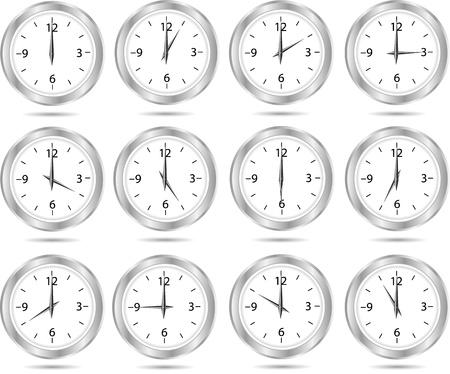 Doce reloj iconos aisladas sobre fondo blanco
