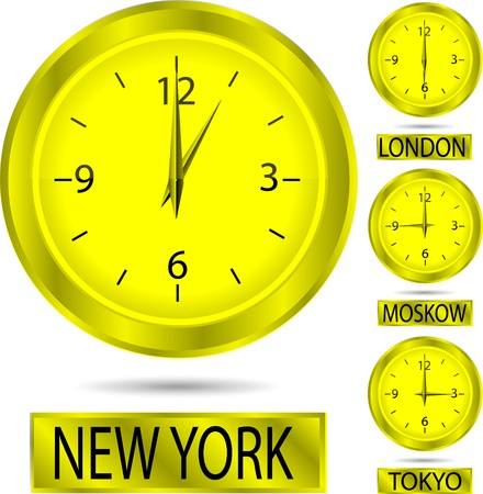 Set of clock showing the time in New York, Moscow, London and Tokyo isolated on white background Vector