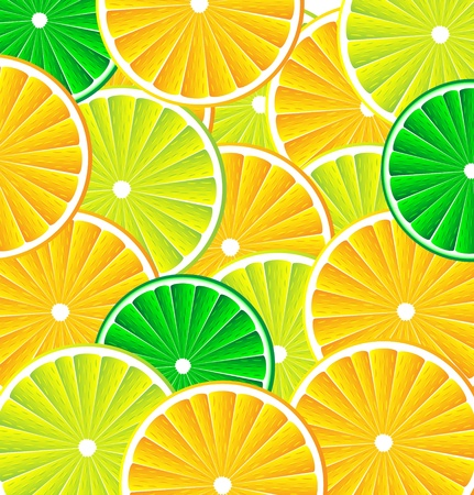 Citrus background texture with slices of lemon, lime and orange. Vector stylized background. Vector