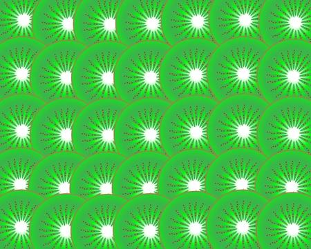 kiwi fruit: Fondo ilustrado de rodajas de fruta kiwi. Vectores