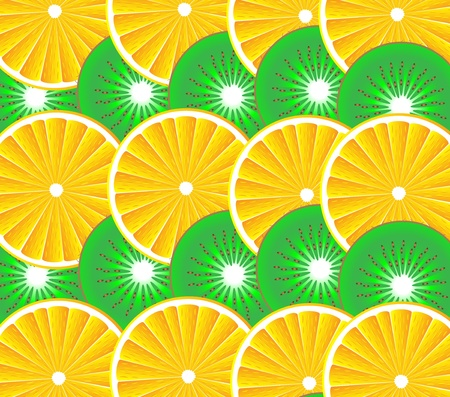 Fruit background: orange and kiwi - vector Vector