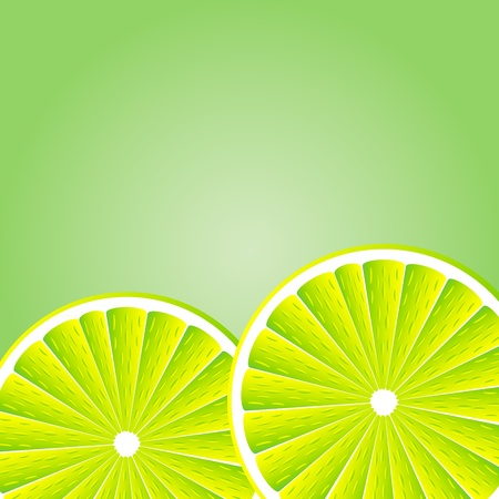 Slices lemon over green white background. illustration Illustration