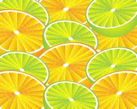 orange cut: Fondo naranja y lim�n. Ilustraci�n vectorial