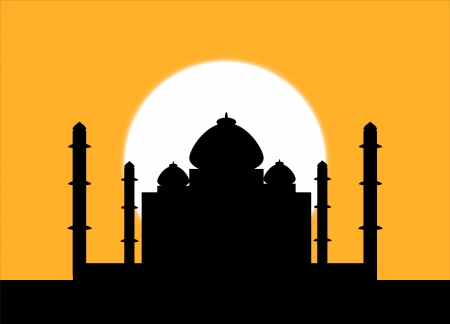 mausoleum: The silhouette Taj Mahal on an sunset background