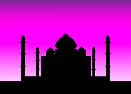 social history: The silhouette Taj Mahal on an sunset background