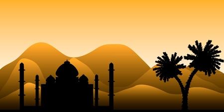 風景: 砂漠、早朝のモスクのシルエット。