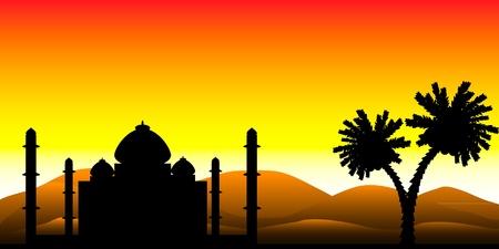 Paisaje: la silueta de una mezquita en el desierto al atardecer