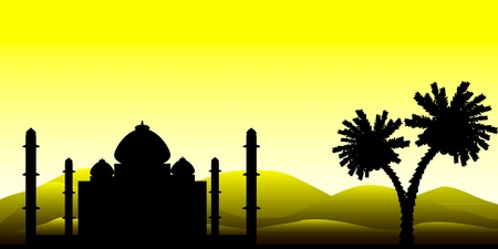 Landscape: the silhouette of a mosque in the desert, early morning. Illustration
