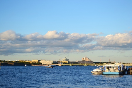 neva: View of the Neva river in St.Petersburg, Russia Stock Photo