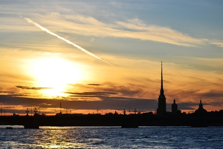 St. Petersburg, Russia, The Peter and Paul Cathedral at sunset photo