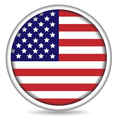 American flag button isolated on white background Vector