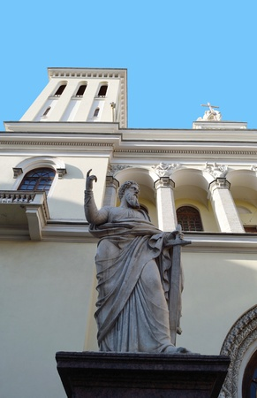 piter: Lutheran Church of Saint Piter and statue of saint Paul in St.Petersburg, Russia