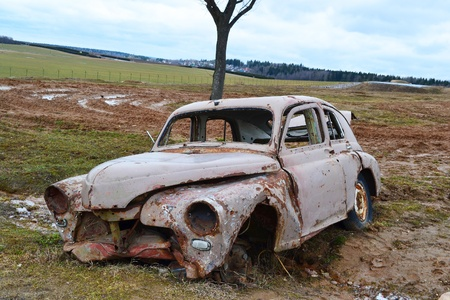abandoned car: The photo of a classic russian antique car