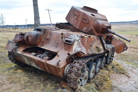 The photo of rusty german old military tank