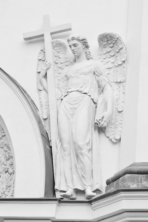 Architectural old church fragment, angel sculpture . Black and white Stock Photo - 10700623
