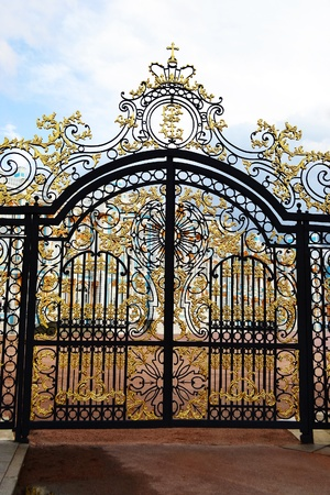 and gate: Golden gate in Tsarskoe Selo, Russia . Editorial