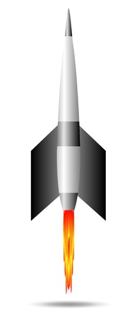 Stylized vector illustration of a starting rocket ship on white background Vector