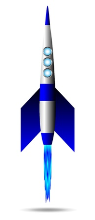 launching: Stylized vector illustration of a starting rocket ship on white background