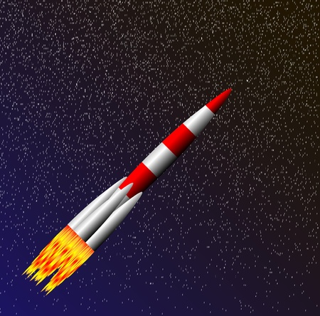 Stylized vector illustration of rocket ship in space Vector
