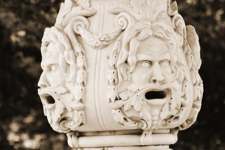 selo: Detail of fountain in Tsarskoe Selo (Pushkin), Saint Petersburg, Russia . Sepia.