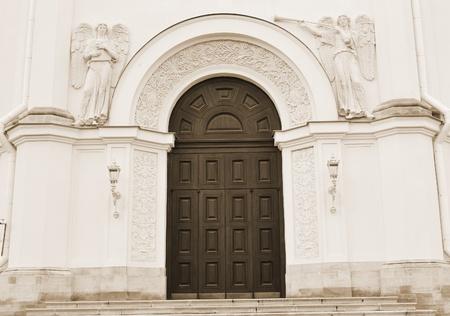 pushkin:  Old door on Christian church in Pushkin, Russia . Sepia.
