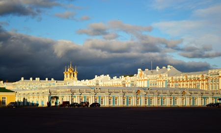 selo: View of palace in Tsarskoe Selo, St Petersburg, Russia.