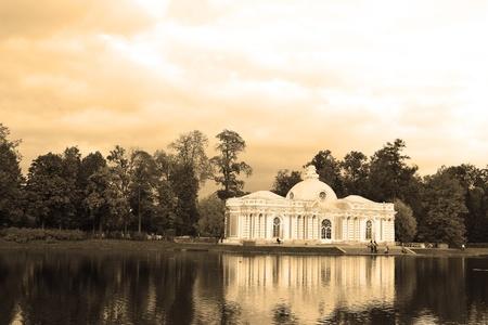 selo: Grotto pavilion in Catherine park in Tsarskoe Selo, Russia. Sepia. Editorial
