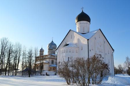 novgorod: View of old church in Veliky Novgorod. Stock Photo
