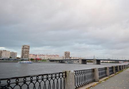 neva: View of Neva river, Volodarsky bridge and quay in St.Petersburg