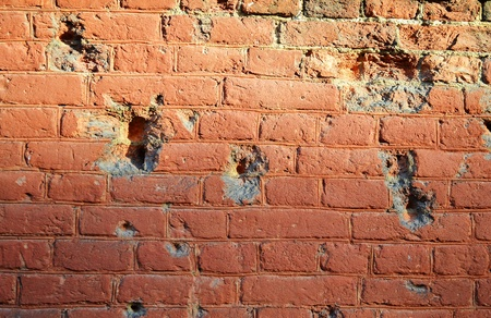 horisontal: The photo of old destroyed brick wall .