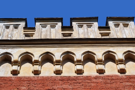 gothic revival style: Architectural detail of an old building in the Gothic Revival style in Peterhof, Russia