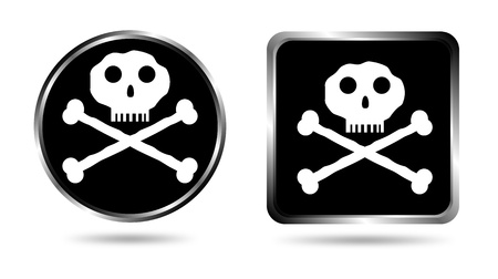 Two buttons with Jolly roger isolated on white background Stock Vector - 10831057