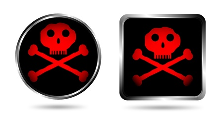 terribly: Two buttons with Jolly roger isolated on white background