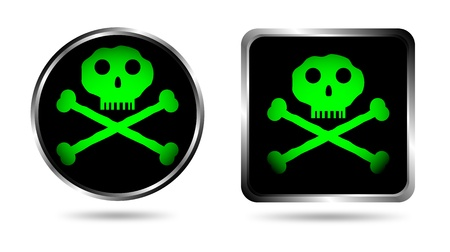 awfully: Two buttons with Jolly roger isolated on white background